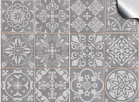 24pc Grey Tile Stickers Victorian Portuguese Moroccan Retro Traditional Mosaic Style Tile Stickers Transfers Cover For 4x4 10 X 10cm Tile Kitchen Bathroom Stick On Wall Peel And Stick Tile Decals Grey