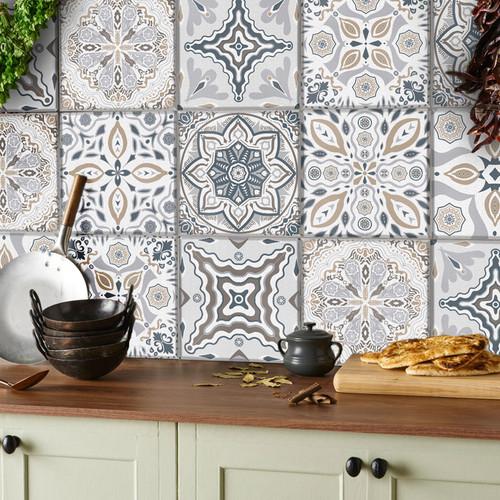 Vinyl Flooring Tiles Stickers Moroccan Victorian Mosaic ...
