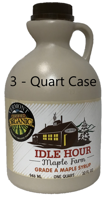 3 - Quart Case of 100% Pure Vermont Organic Maple Syrup