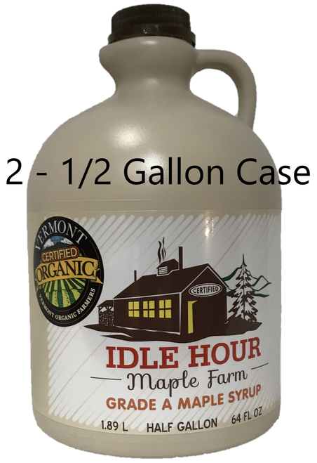 2 - Half Gallon  Case of 100% Pure Vermont Organic Maple Syrup
