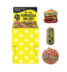 Dump Bin Scoochzilla Plush Dog Toys 72 Pieces Pizza, Hot Dog and Hamburger