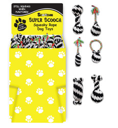Dump Bin Small Super Scooch Squeaky Rope Toys 60 Pieces