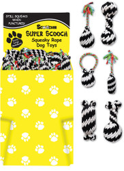 Dump Bin Large Super Scooch Squeaky Rope Toys 48 Pieces