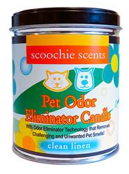 Scoochie Scents Clean Linen Pet Odor Eliminator Candle Tin