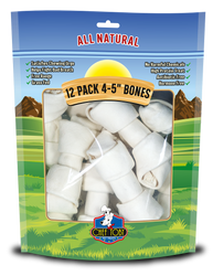 12 Pack 4-5 Inch Rawhide Bones In A Printed Zip Lock, Pegable Full Color Bag With Window