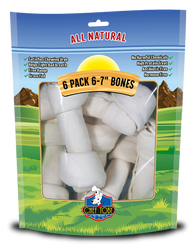 6 Pack 6-7 Inch Rawhide Bones In A Printed Zip Lock, Pegable Full Color Bag With Window