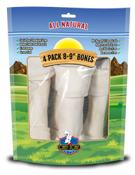 4 Pack 8-9 Inch Rawhide Bones In A Printed Zip Lock, Pegable Full Color Bag With Window