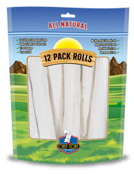 12 Pack Rawhide Rolls 10 Inch In A Printed Zip Lock, Pegable Full Color Bag With Window