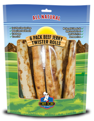 6 Pack Beef Jerky Twister Rolls 10 Inch In A Printed Zip Lock, Pegable Full Color Bag With Window