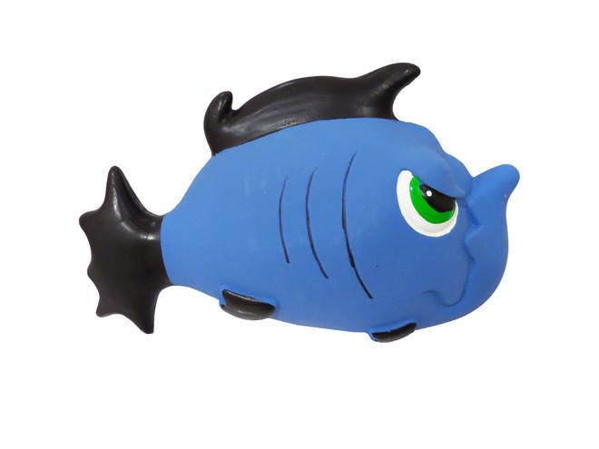 7.5 Inch Premium Stuffed Latex Angry Blue Fish
