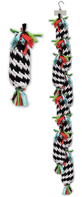 Clip Strip of Super Scooch Rope Gummer With Squeakers 8 Per Clip