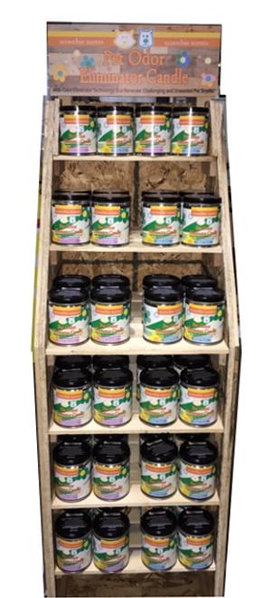 Scoochie Scents Odor Eliminator Candles 84 Piece Wooden Foor Display