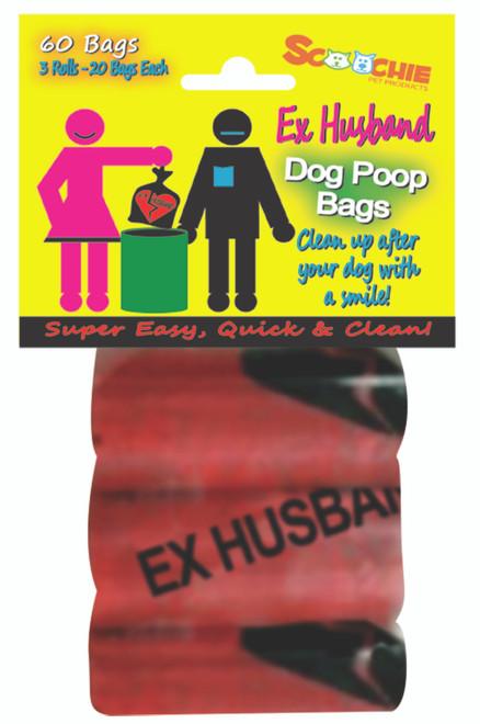 Scoochie EX HUSBAND  3 Pack Poop Bags In Bag and Header