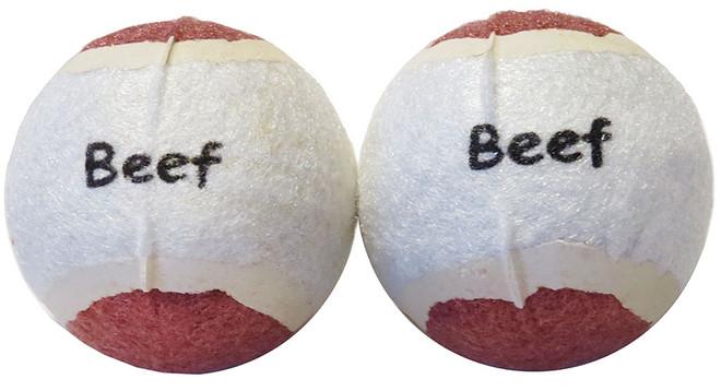 2 Pack Beef Tennis Balls Scoochie Poochie Brand