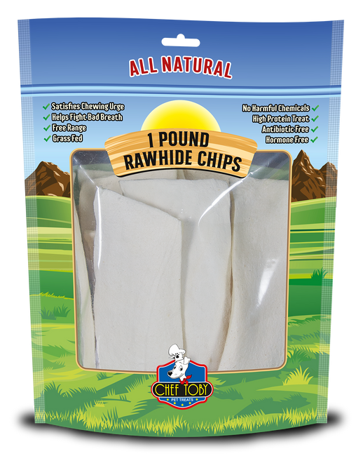 1 Pound Rawhide Chips In A Printed Zip Lock, Pegable Full Color Bag With Window