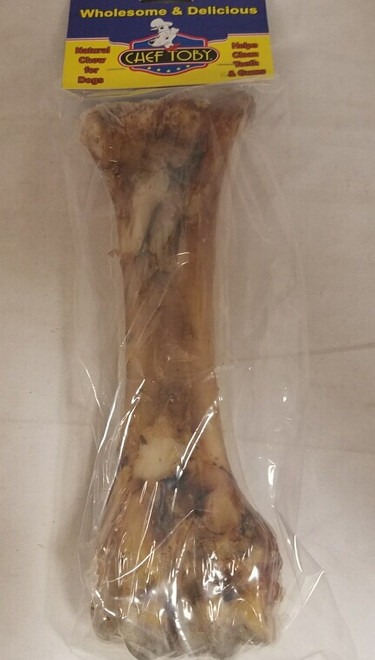 Roasted Natural Shin Bones 8 Pack 4 Inch In A Printed Zip Lock, Pegable Full Color Bag With Window