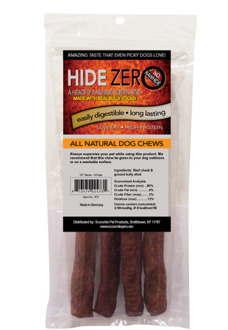 Hide Zero 10 Inch 4 Pack Bully Flavored Rawhide Alternative Chew in Zip Lock Bag