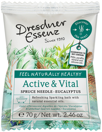 Active & Vital Fizzing Bath Tablet with natural essential spruce needle & eucalyptus oil.