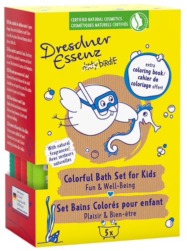 dirty birdie Colorful Bath Set with extra coloring book -  bath fun for kids!