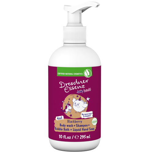 dirty birdie 4 in 1 Body Wash for Kids with fruity-sweet blackberry scent.
