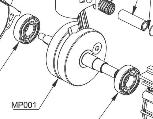 M001 Crankshaft with Push Rod / Vittorazi Moster 185 Silent / Classic