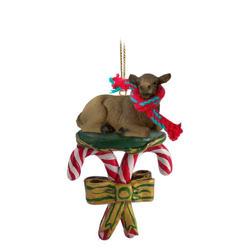 elk cow candy cane ornament