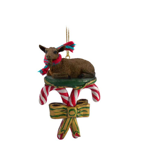 brown goat candy cane ornament