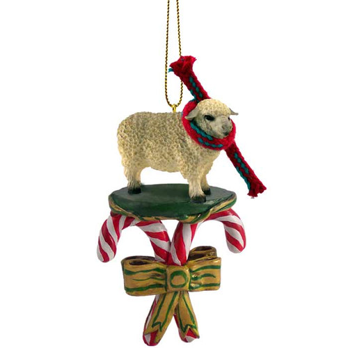 white sheep candy cane ornament