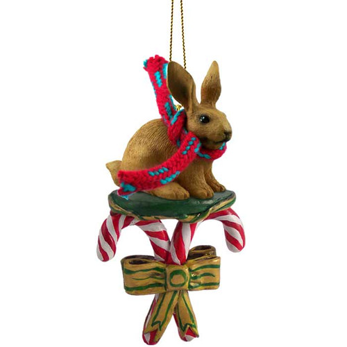 brown rabbit candy cane ornament