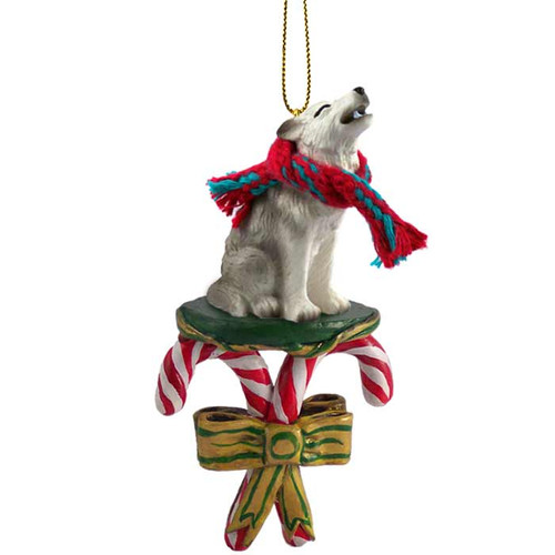 gray wolf candy cane ornament