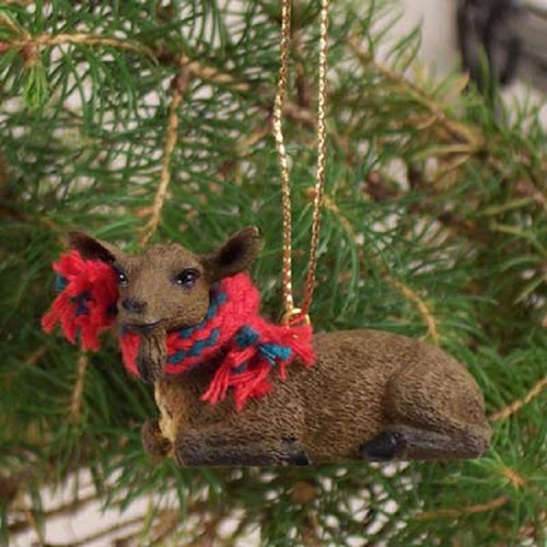brown goat holiday ornament
