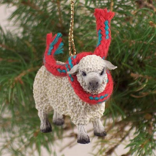 white sheep holiday ornament