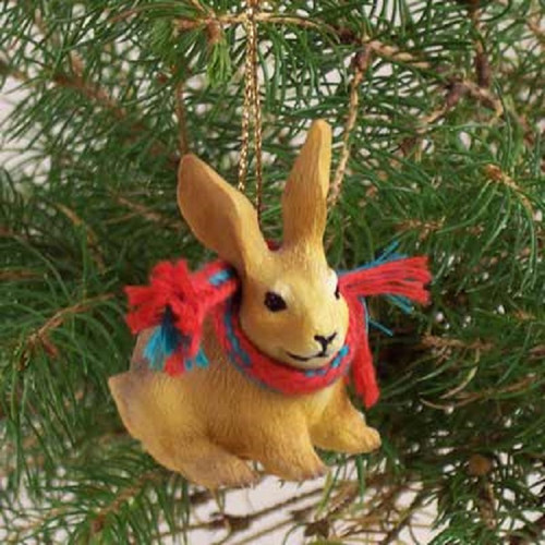 brown rabbit holiday ornament
