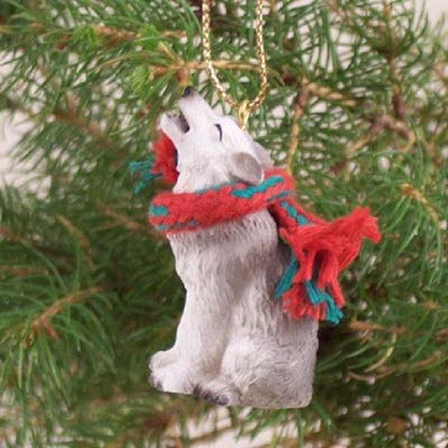 gray wolf holiday ornament