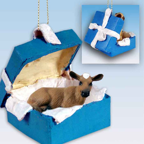 guernsey cow blue gift box