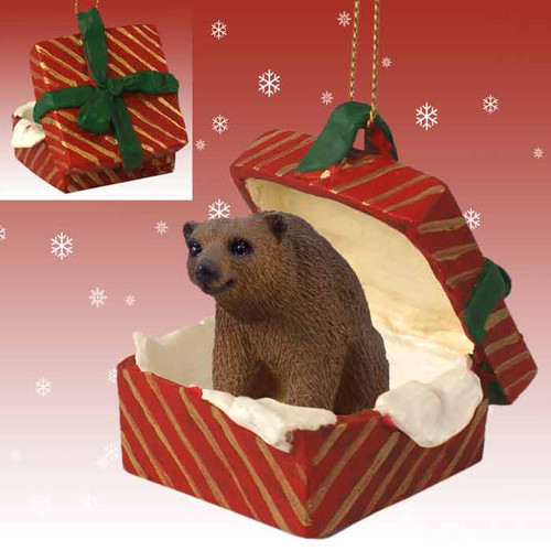brown bear red gift box ornament