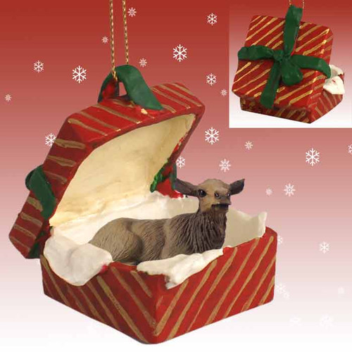 elk cow red gift box ornament