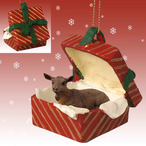 brown goat red gift box ornament