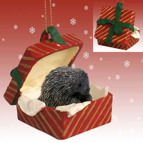 porcupine red gift box ornament