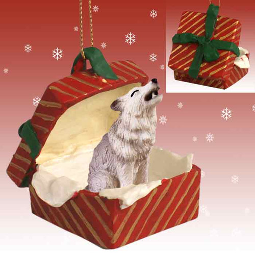 gray wolf red gift box ornament