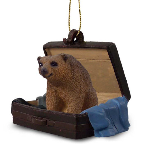 brown bear suitcase ornament