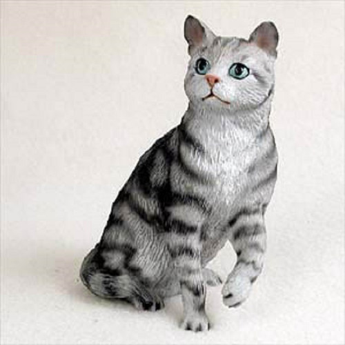 shorthaired silver cat figurine