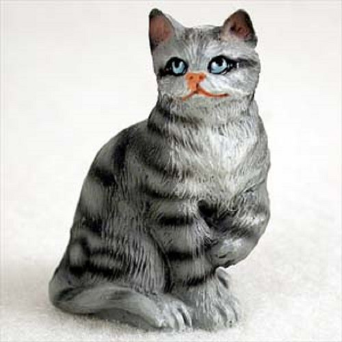 small shorthaired silver cat figurine