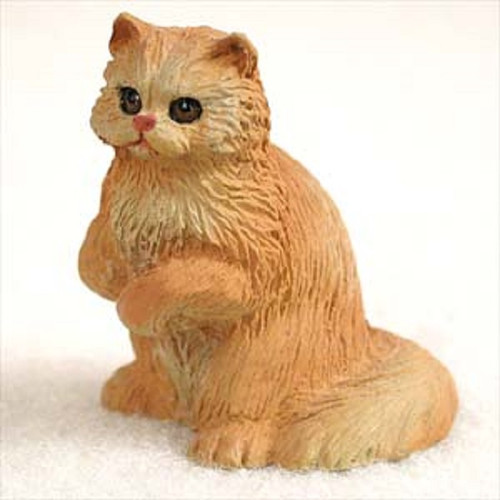small red persian cat figurine