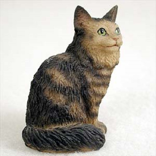 small maine coon brown cat figurine