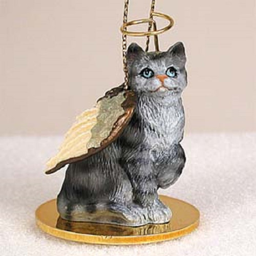 silver shorthaired cat angel ornament