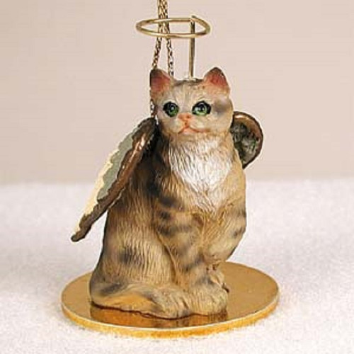 brown shorthaired cat angel ornament