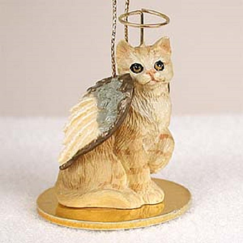 red shorthaired cat angel ornament
