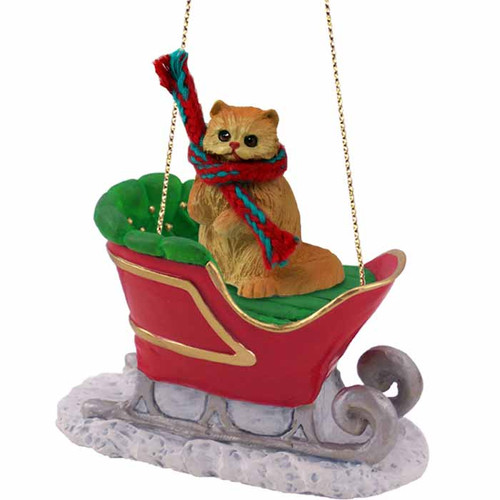 red persian sleigh ride cat ornament