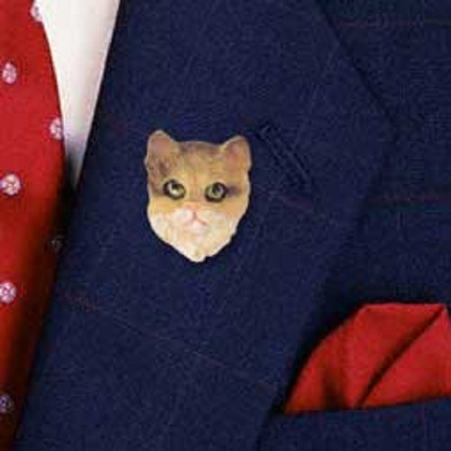 brown shorthaired cat pin button